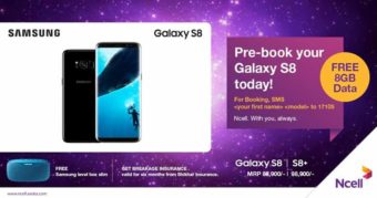 Get Samsung S8 with 8GB Bonus Data from Ncell